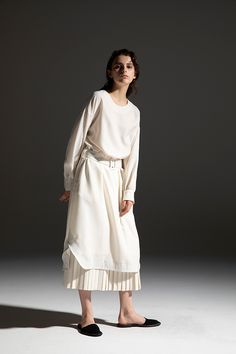 2020-21 A/W 008, Polyester Wool Viyella Belted Dress   DRC-D02-500F, Polyester Wool Viyella Tiered Pleated Skirt   DRC-S01-500F Belted Dress, Pleated Skirt, 21st, Normcore, Wool, Skirts, Collection, Dresses, Style