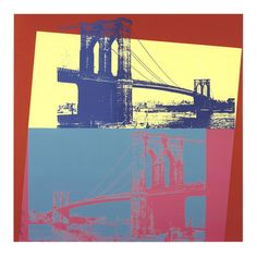 Andy Warhol Brooklyn Bridge painting is shipped worldwide,including stretched canvas and framed art.This Andy Warhol Brooklyn Bridge painting is available at custom size. Andy Warhol Museum, Andy Warhol Art, Pittsburgh, James Rosenquist, Pop Art Movement, Robert Rauschenberg, Roy Lichtenstein, Yellow Background, Brooklyn Bridge