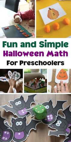 Simple and fun, easy math activities for Halloween to use with preschoolers. These ideas are hands-on, playable and great for supporting to develop basic number and shape skills. Preschool Math Games, Early Learning Activities, Kids Learning Activities, Toddler Activities, Preschool Activities, Maths, Halloween Rhymes, Halloween Math, Halloween Activities