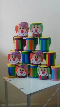 Paysos dulcero Tin Can Crafts, Craft Stick Crafts, Preschool Crafts, Diy And Crafts, Clown Party, Circus Party, Vintage Birthday Parties, 4th Birthday Parties, Valentine Crafts For Kids