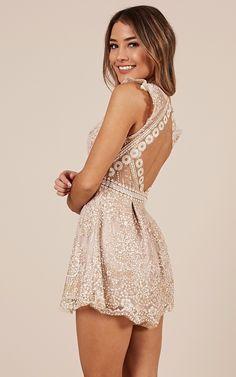 Versailles Playsuit In Gold Produced Xv Dresses, Hoco Dresses, Dresses For Teens, Dance Dresses, Club Dresses, Homecoming Dresses, Casual Dresses, Formal Dresses, Reception Dresses
