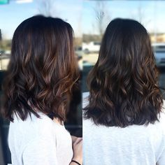 """Soft balayage & long bob on this beautiful brunette #hairpainting…"