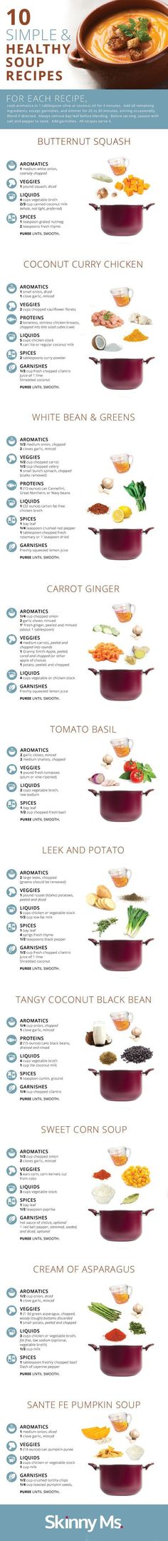 Simple and Healthy Soup Recipes 10 Simple and Healthy Soup Recipes. Souper Simple and Healthy Soup Recipes. Ways To Eat Healthy, Healthy Eating, Healthy Food, Healthy Detox, Healthy Lunches, Healthy Soup Recipes, Cooking Recipes, Curry Recipes, Vegetarian Recipes