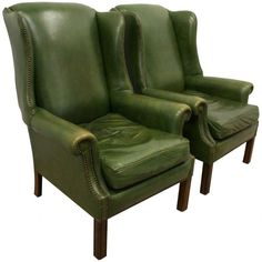 Pair of Green Leather Georgian Style Wing Chairs - Georgian Antiques Green Room Colors, Green Rooms, Late 20th Century, Green Leather, Wingback Chair, Georgian, Accent Chairs, Wing Chairs, Wings