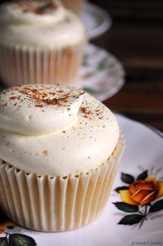 "Custard Tart Cupcake (Juniper Cakery). ""Our take on this British classic is a lovely light vanilla bean cupcake filled with custard, frosted with creamy white chocolate and custard buttercream finished with a soft sprinkling of ground nutmeg."" Sounds different and delicious!"