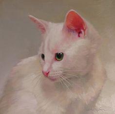 White Kitten Painting by Diane Hoeptner