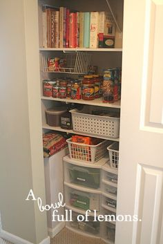 Pantry Organization: Of course, my pantry is a lot bigger, but I could probably still follow some of the basic ideas.