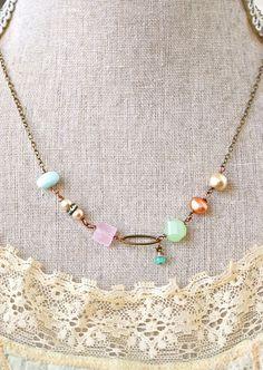 Lulu. gemstone, pearl, opal necklace. Tiedupmemories