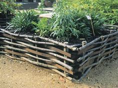Gardening with raised beds & containers on a budget | Palletized crates (left) and woven raised beds (above).