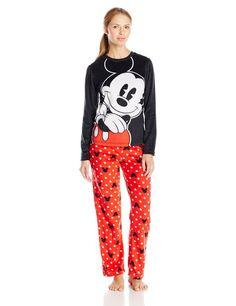 US$ 29.90  - valor médio, sem frete ou impostos (sujeito à alteração sem qualquer aviso).   Disney Women's Ladies Minky Pajama Set Mickey, Black, Medium