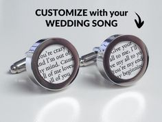 Cufflinks with Wedding Song printed on PAPER. Perfect first anniversary gift idea!