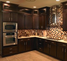 Mocha stained cabinets - I love dark wood in the kitchen
