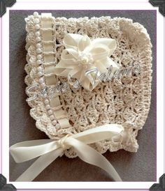 PATTERN PT30- Baby Bonnet with Beads, Crochet Baby Bonnet, Crochet Baby Hat With Beads. $6.99, via Etsy.
