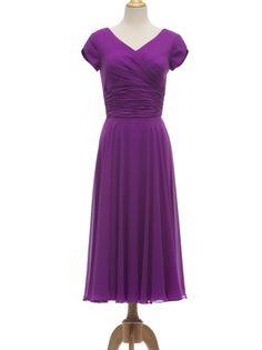 cheap purple v-neck short sleeve prom dress   Cheap prom dresses Sale