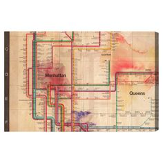 Equally at home in an artful collage or on its own as an eye-catching focal point, this hand-stretched canvas print showcases a subway map motif. Made in the...