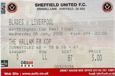 Sheffield United v Liverpool. Liverpool Football Tickets, Sheffield United Fc, Bramall Lane, Semi Final, Premier League, The Unit