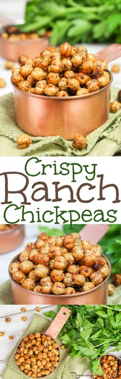 Crispy Healthy Roasted Ranch Chickpeas recipe. The perfect crunchy easy, protein packed healthy snack or use as a salad topper. Friendly for vegans, clean eating and gluten free. / Running in a Skirt