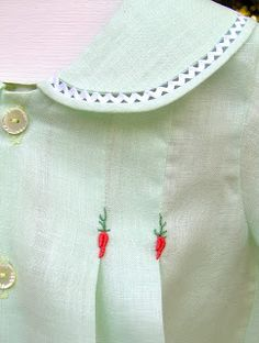 Fagoting a peter pan collar in heirloom sewing for children's clothing. From: Creations By Michie` Blog: #105 Pattern of the Week