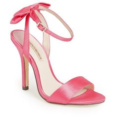 "Menbur 'Milan' Satin Sandal, 4"" heel (510 BRL) ❤ liked on Polyvore featuring shoes, sandals, heels, pink shoes, scarpe, coral, heeled sandals, pink heel sandals, bow sandals and ankle tie sandals"