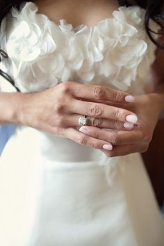 Pretty pink nail color for wedding.