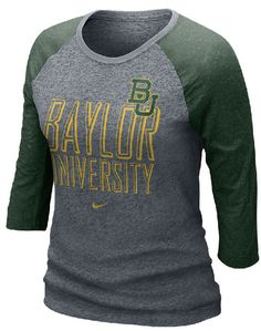 58aba49d0cd1 Nike Baylor Bears Ladies ¾ Sleeves Grey Burnout Raglan Tee Shirt Oregon  Football