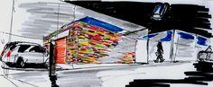 Estudo para um quarteirão em Telheiras, Lisboa, 2009 Study for a mixed use block in Telheiras, Lisbon, 2009 - box enveloping the elevator for the automatic car parking on level 0, a covered plaza with small shops and services By Carlos Filipe