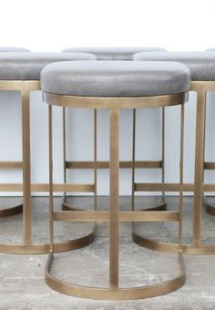 Milo Baughman Burnished Brass Bar Stools in Grey Leather image 4