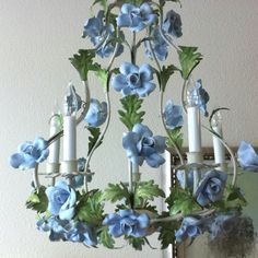 Vintage Italian tole chandelier hand painted with blue flowers. Sconce Lamp, Indoor Decor, Lamp Decor, Large Pendant Lamp, Ceramic Flowers, Italian Chandelier, Beautiful Lighting, Lamps And Lamp Shades, Kids Chandelier