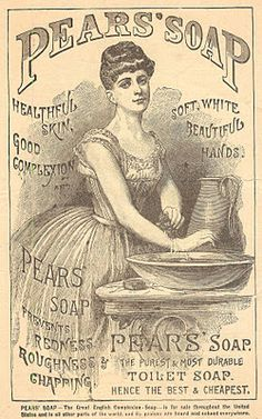 Free Printable 1800's Pear's Soap Advertisement for DIY decoupage, collage, altered art & transfer projects from KnickofTime.net