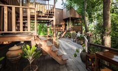 Image 1 of 10 from gallery of Forest House & Studio Miti. Photograph by magazine & Ketsiree Wongwan Thai House, D House, Tree House Plans, Timber Architecture, House On Stilts, Bamboo House, Modern Architects, Farm Stay, Forest House