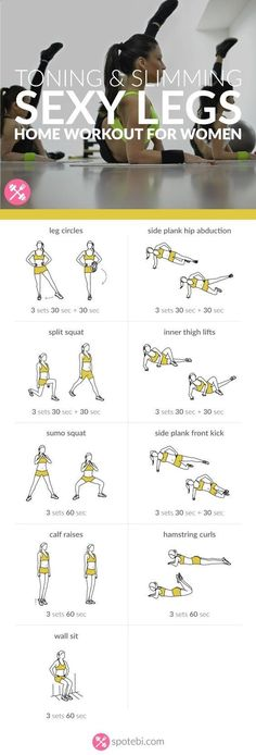 Get lean and strong with this sexy legs workout. 9 toning and slimming leg exercises to work your inner and outer thighs, hips, quads, hamstrings and calves.http://www.spotebi.com/workout-routines/sexy-legs-workout-women-toning-slimming/