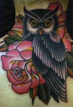 BLACK OWL BIRD TATTOO