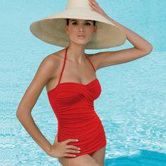 Jantzen® Vamp Maillot One Piece Swimsuit | Red | Popina® | Jantzen® Swimwear | One Piece Bathing Suit Styles | Retro Swimwear | Vintage Insp...