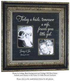Father Of The Bride Gift Gifts For Dad Daughter Quote Wedding Photo Frame Parents 16 X