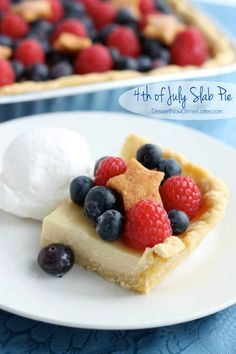4th of July Slab Pie - a creamy lemon custard filled pie crust topped with fresh berries and pie crust stars. | DessertNowDinnerL... #4thofjuly #pie #patriotic #redwhiteandblue #dessert #fruit