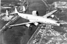 """Lockheed EC-121 """"Connie"""" Warning Star over the Cape Cod Canal.Stationed at Otis AFB Mass. 551 Airborne Early Warning and Control Wing, Air Defense Command 552 AEW+C Sacramento Cal."""