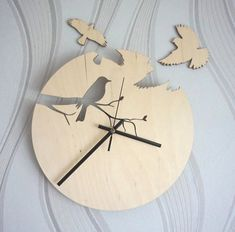 Wood wall clock/ Bird siluet clock/ Unique wall clock / Modern wooden clock on Etsy, $44.11