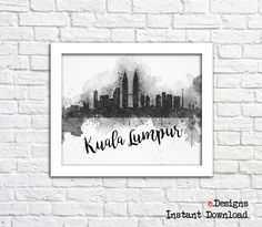 Printable Kuala Lumpur Watercolor DecorKuala Lumpur by eDesignss