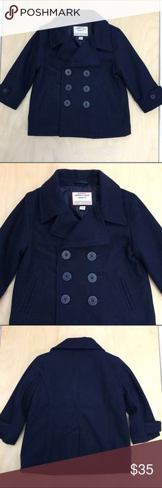 Janie and Jack peacoat Navy wool double breasted peacoat with navy anchor buttons.  Fully lined, NWOT. Wool/polyester/nylon/rayon. Janie and Jack Jackets & Coats Pea Coats