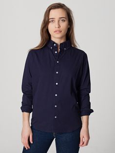 American Apparel - Unisex Cotton Twill Long Sleeve Button-Down