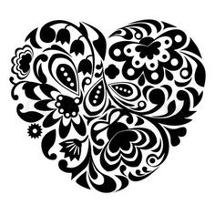 images of the sky in black and white | Vector of Black ornamental heart on white background.