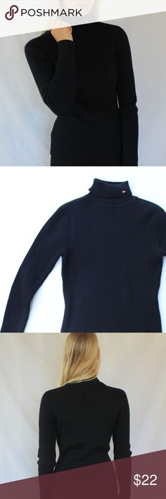 Tommy Hilfiger Black Cotton Rib Knit Turtleneck Tommy Hilfiger cotton ribbed turtleneck. Excellent condition. Size medium. see pics for content. Embroidered Tommy flag on neck. Tommy Hilfiger Sweaters Cowl & Turtlenecks