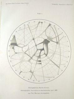 Boreal hemisphere of Mars 1886 Giovanni Schiaparelli (via peacay) Information Design, Information Graphics, Map Diagram, Science Fiction, Artist Sketchbook, Art Deco, Ancient Symbols, Art Graphique, Data Visualization