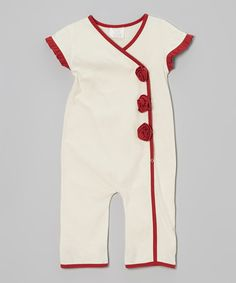 Take a look at this Red & Cream Organic Wrap Top Romper - Infant & Toddler by Kids Organic on #zulily today!
