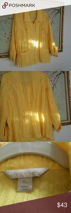 NWOT! Laura Ashley Jacket! Fits size 14 Reads  XL. Beautiful yellow color with roll up or down sleeves. Gathers in back to show your curves. Laura Ashley Jackets & Coats