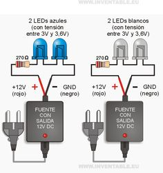leds a 12 Volts Electronic Circuit Projects, Electronic Engineering, Arduino Projects, Electrical Engineering, Simple Electronics, Hobby Electronics, Electronics Projects, Basic Electrical Wiring, Electrical Projects