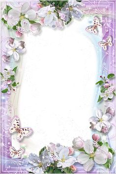 Beautiful Light Purple Flower Frame With Butterfly's Frame Background, Paper Background, Boarders And Frames, Photo Frame Design, Printable Frames, Art Carte, Borders For Paper, Paper Frames, Note Paper