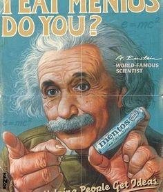 How Einstein generates ideas #vintage ad #advertising #celebrity endorsement