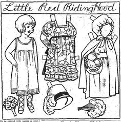 Little Red Riding Hood from Susie May Coloring newspaper doll series, 14 May 1927   Mostly Paper Dolls