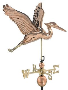 The Blue Heron Standard Weather Vane makes the perfect crowning accent to your home. This handcrafted and charming weather vane will add sophistication and intricate style to your home. Created from m